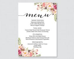wedding menu cards wedding menu cards etsy