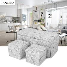 fabric storage cube ottoman langria 3 piece french script patterned fabric storage bench and