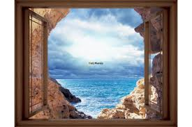 mural window view with sea and cliffs 3 colours wallpapers mural window view with sea and cliffs 3 colours