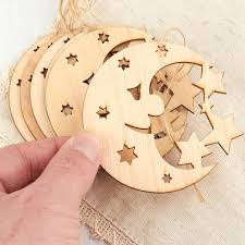 unfinished wood celestial moon and ornaments wood cutouts