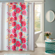 Coral And Grey Shower Curtain Buy Coral Fabric Shower Curtains From Bed Bath U0026 Beyond
