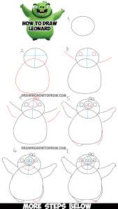 learn draw leonard green pig angry birds movie