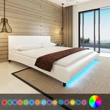 Schlafzimmer Bett Mit Matratze Vidaxl Kunstleder Bett 180 X 200 Cm Mit Led Streifen Real