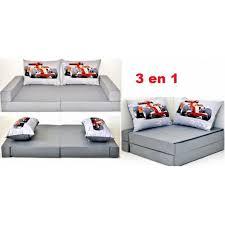 canap pour enfants canapé pour enfant 3 en 1 gris coussins motif voiture de course