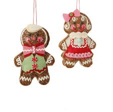 gingerbread ornaments raz plush gingerbread ornaments 6 5 inch set of 2 shelley b home