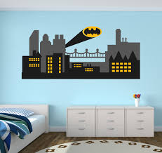 batman wall decal etsy gothic city wall decal batman skyline art superhero decor
