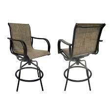 Bar Height Patio Chair Shop Allen Roth Set Of 2 Tenbrook Aluminum Swivel Patio Bar