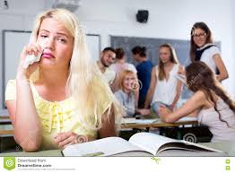 Desks For High School Students by Crying Outcast Student In College Classroom Stock Photo Image