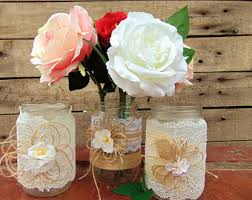 Mason Jars Wedding Centerpieces by Lace Mason Jars Etsy