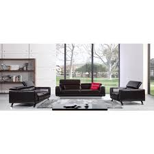 Leather Match Upholstery Divani Casa Brustle Modern Dark Brown Italian Leather Sofa Set