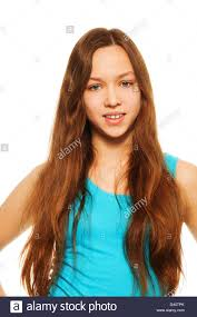 happy beautiful teen with long hair stock photo royalty free