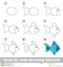 drawing tutorial draw cute fish stock vector image