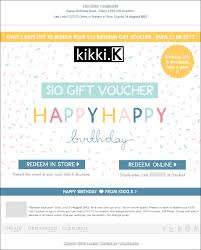 gift card email kikki k enjoy a 10 gift voucher birthday email the best of email