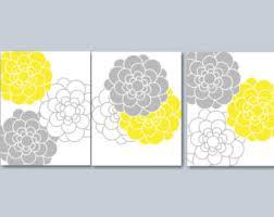 yellow gray wall art etsy