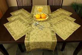 gold table runner and placemats hand embroidered 7 piece placemat table runner set banarsi designs