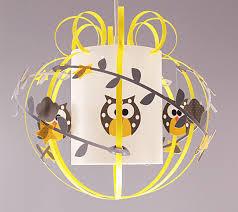 suspension luminaire chambre bébé suspension mobile hibou gris et jaune fabrique casse noisette