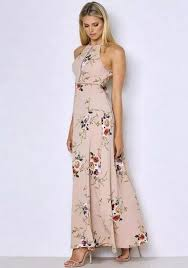 floral maxi dress apricot floral print tie back backless halter neck slit bohemian