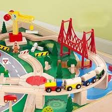 amazon com kidkraft waterfall mountain train set and table toys