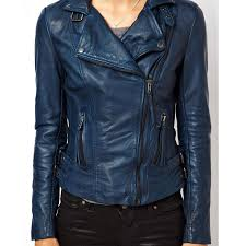 ladies motorcycle jacket blue biker jacket womens lambskin leather jacket