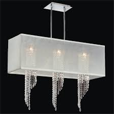 hanging modern chandelier with white rectangular shades and 3