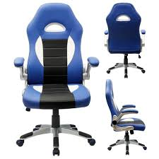 blue leather swivel chair amazon com furmax gaming chair executive racing style bucket seat