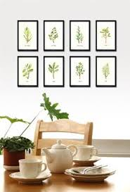 wall decor ideas for kitchen kitchen dining room watercolor herb set of 8 5x7