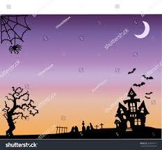 halloween spooky tree silhouette halloween background scene classic halloween sights stock vector