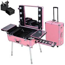rolling makeup case with lighted mirror rolling studio makeup artist cosmetic case w light leg mirror pink