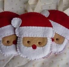 set of 3 handmade felt santa ornaments by rosecottagedesignss