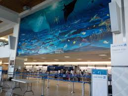 file united airlines check in counter at antonio b won pat