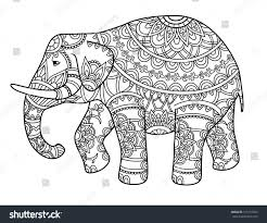 hand drawn decorative outline elephant indian stock vector
