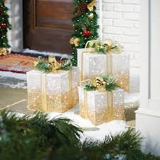 lighted gift boxes christmas decorations lighted gift box christmas decor set of 3 improvements