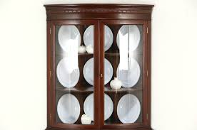 Antique Corner Cabinets Sold Hickory Signed Vintage Curved Glass Mahogany Traditional