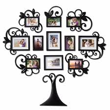 12 family tree photo picture frame collage set black wall