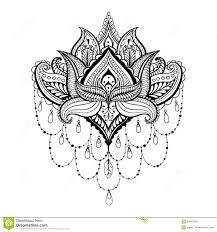 vector ornamental lotus ethnic zentangled henna tattoo pattern