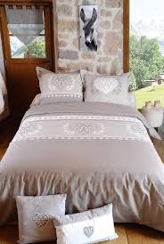 linge lit lin parure de lit esprit chalet romantique couleur lin 220x240 housse