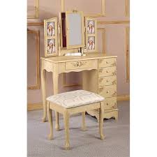 Vanity Table L Coaster Painted Wood Makeup Vanity Table Set With Mirror In