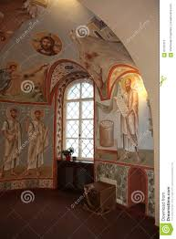 interior altar icons frescoes baptismal font in the old