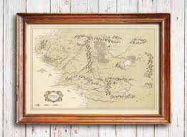 The Hobbit Map Middle Earth Map Vintage Style Map Lord Of The Rings Poster