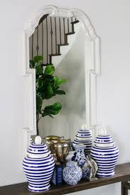 bright blue and white entryway windgate lane and why don t we just round out my ballard designs love fest with the final thing in the entry my faux fiddle leaf fig tree