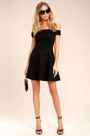 lulus season of fun black off the shoulder skater dress fully