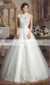 elegant high neck open back lace wedding dresses modest ball gown