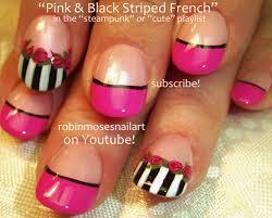 robin moses nail art pink black and white nail art pink roses