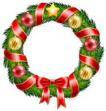 christmas wreath with ornaments and red bow clipart png image