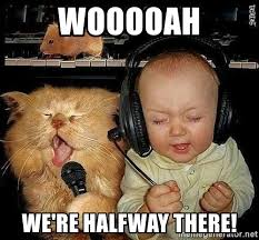 Halfway There Meme - wooooah we re halfway there singing baby with cat meme generator