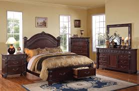 Cherry Wood Sleigh Bedroom Set Traditional Interior Furniture Arranged In A Modern Design