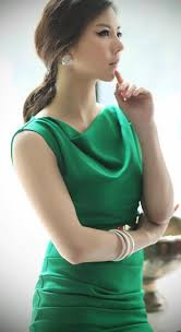 classy beauty emerald green cowl neck shift dress work or