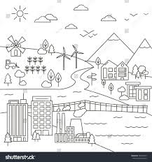 vector set city town country landscape stock vector 569265949
