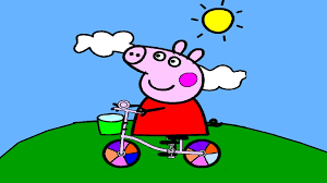 peppa pig coloring pages peppa on a bike coloring book youtube