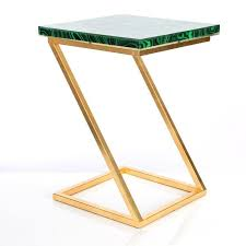 green z shape accent table
